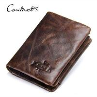 Men's Genuine Leather Cowhide Trifold Wallet Credit Card ID Holder Retro Purse
