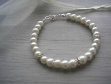 2rb Bracelet Pearl & Diamante Ladies & Girls Sizes Bridesmaid Wedding Bridal