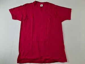 Vintage Fruit Of The Loom M Fuschia Pink T Shirt Single Stitch Front Pocket USA