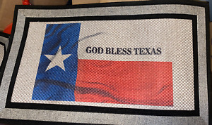 "GOD BLESS TEXAS lone star Heavy Duty Rubber Backed Doormat  Big 30"" x 18"""