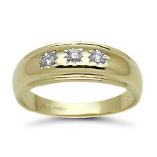 9ct Yellow Gold 12pts Gents 3 Stone Real Diamond Ring G/H I2