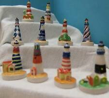 RETIRED AMAZING MINIATURE PORCELAIN SET/10 COLORFUL LIGHTHOUSE COLLECTION, 2004