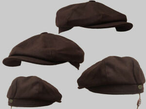 8 PANEL,BAKERBOY,NEWSBOY,PEAKY BLINDER 1920S WOOL FLAT CAP BROWN
