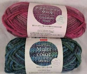 Daiso Multi Color Yarn Wool Pink Blue Old Rose Variegated Knit Knitting Crochet