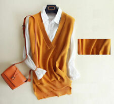 6926 New Women's Cashmere Loose Pullover V Neck Knit Long Sweaters Jumpers Vest