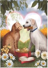 NEW EVERGREEN GARDEN FLAG FOR MY VALENTINE DOG & CAT LOVE - ADORABLE  12.5 x 18