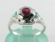 COMBO 9CK 9CT WHITE GOLD RUBY EMERALD ART DECO INS RING FREE RESIZE