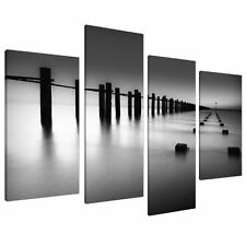 Large Black White and Grey Beach Landscape Canvas Wall Art Pictures - Set of ...