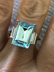 Natural Stunning 6.00Carat Emerald Cut Aqua Blue Aquamarine Sterling Silver Ring