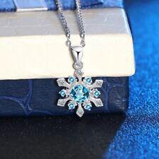 Women's Swarovski Element Snowflake Pendant 925 Sterling Silver Fashion Necklace