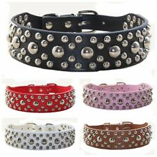 3.5cm Wide Leather Mushroom Spiked Studded Dog Collar for Small Medium Dogs