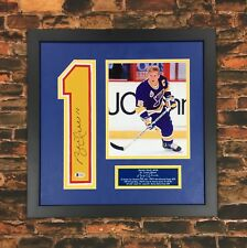 Brett Hull Signed Jersey Number 1 Custom Framed Beckett Blues