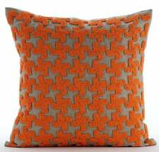 Orange Decorative Toss Pillowcase 18x18 inch Silk, Lattice - Orange Terracota