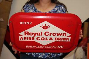 """Vintage 1950's RC Royal Crown Cola Soda Pop 20"""" Embossed Metal Sign"""