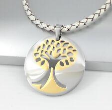 Silber Gold Baum des Lebens Edelstahl Anhänger weiß Leder Halsketten Geflochten