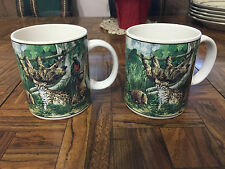 Pair Exc Con THE RAIN FOREST Coffee Mugs Stanley Papel Kurt Kress Otagiri Japan
