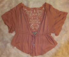 Love By Design Pink Shrug Crochet Lace Back Small short sleeve tied front [o]