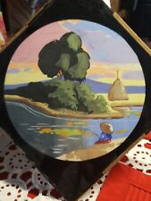 "VINTAGE 1940'S  ♡ 8"" x 8"" ASIAN SILHOUETTE REVERSE PAINTING"