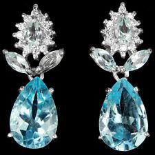 ELEGANT OHRRINGE, 925 Sterling Silber, Natural blauer Topas, weiß Cubic Zirconia