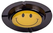 BLACK METALLIC ROLL SHAPED CIGARETTE ASHTRAY SMILE SMILEY BRAND NEW