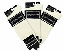 3 Pair of Biagio Solid IVORY / OFF-WHITE Solid Mens COTTON Dress SOCKS