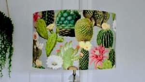Cactus Lampshade Drum Lampshade - Handmade 25cm 30cm 40cm Cacti Tropical Pattern