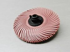 "3m Radial Bristle Disc 3"" Pink Pumice Scotch-Brite 6 Ply Brush Mounted on Hub"