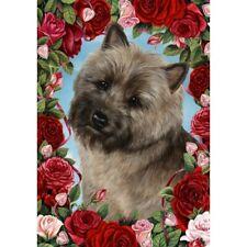 Roses Garden Flag - Brindle Cairn Terrier 193261