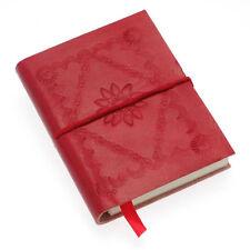 Commercio equo e solidale fatte a mano piccola CRIMSON ROSSO in pelle in rilievo Notebook Giornale