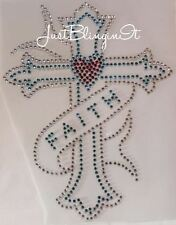 Cross with Faith Ribbon Hot Fix Rhinestone Iron On Transfer Bling MADE IN USA
