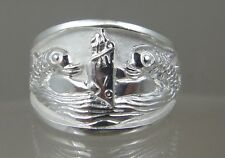 US Navy licensed Submarine dolphin Deep wave mens .925 sterling ring size 10.5