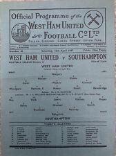 More details for west ham united v southampton 1946/47