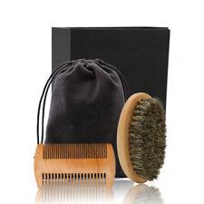 Men's Handmade Wooden Mustache Comb Bristle Brush and Beard Comb Set Beard Care
