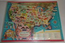 Pictorial Map of the United States 1960s Colorful Puzzle! Nice See!