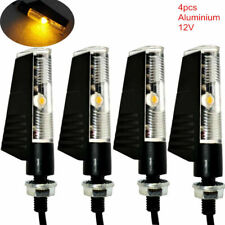 4x Black Motorcycle LED Turn Signal Light Mini Blinker Amber Indicators Lamp 12V