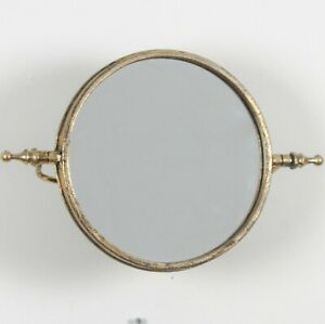 Mirror wall mounted tilting Vintage design Antique Gold metal Round Wall Mirror