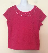 Justice Girls Top Pink Floral Lace Bling Size 16 Excellent Condition