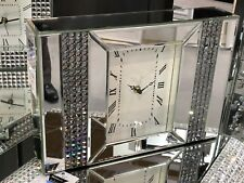 Elegant Silver Glass Mirrored Crystal Mantel Clock-Home Decor/office Desk