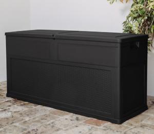 320L Large Outdoor Garden Storage Rattan Black Box Plastic Container Chest Lid