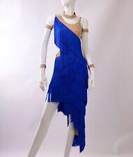 Latin Competition Dance Dress Blue White Fringes Tango Tassels Rumba Custom Made