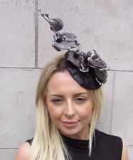Black Dark Silver Grey Orchid Flower Fascinator Hat Pillbox Wedding Races 3142