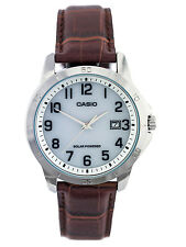 Casio MTP-VS02L-7B Men's Standard Solar Leather Band Grey Dial Date Watch