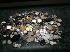 HUGE LOT Vintage Antique Steampunk Watch Parts Dials Movements Backs Wheels++ 2#