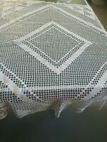 """Vintage Off White Lace Crochet Square Table Cloth Doily 51"""" by 54"""""""