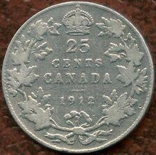 1912 Canada 25 Cent Silver Coin (5.83 Grams .925 Silver)