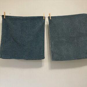 PAIR Ikea Gullklocka Pillow Covers Soft Texture Blue Chenille 20x20 Zipper