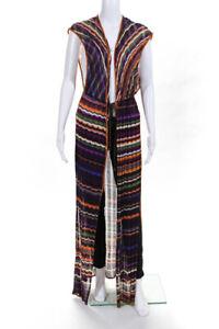 Missoni Mare Knit Striped Sleeveless Long Cardigan Sweater Top Purple Size 10