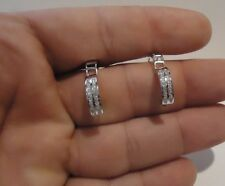 2 ROW HOOP EARRINGS W/ 1 CT  LAB DIAMONDS / 15MM BY 4MM/ 925 STERLING SILVER