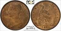 Great Britain Victoria Bronze 1886 1 Penny PCGS MS63 RB Light Toned KM# 755