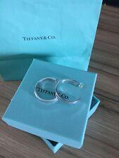Genuine Tiffany & Co. Silver 1837  Large Pierced Hoop Earrings Gift Box & Bag